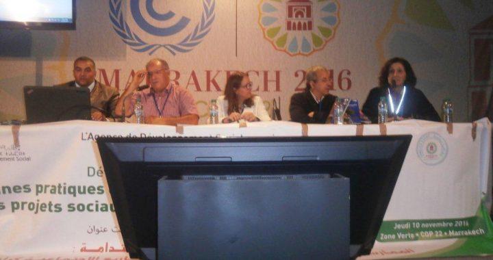 Le 10 novembre, THM participe au Side Event de l'Agence de Développement Social (ADS), à la salle Souss, Espace Société Civile de la COPP22. THM a démontré les fruits d'un partenariat réussi entre l'ADS et la Ferme Pédagogique CIPA-Pierre Rabhi, Douar Skoura, pour faire aboutir un projet structurant et valorisant pour la région, pour sa population et pour son territoire. Merci à nos amis de l'ADS et à tous les partenaires de l'ADS.